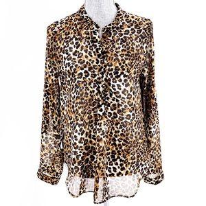 American Dream Cheetah Leopard Sheer Blouse Medium